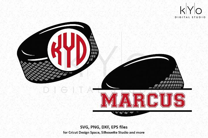 Ice Hockey puck monogram SVG DXF PNG EPS files