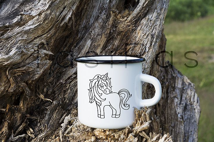 Campfire enamel mug mockup with stump
