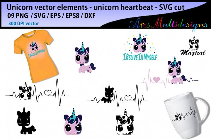 Unicorn heartbeat graphics and illustration / heartbeat graph SVG / unicorn silhouette svg / unicorn clipart vector / unicorn elements