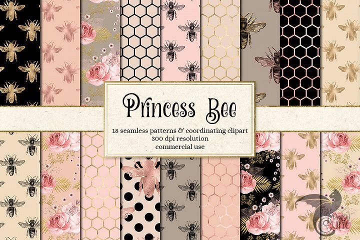 Princess Bee Seamless Patterns