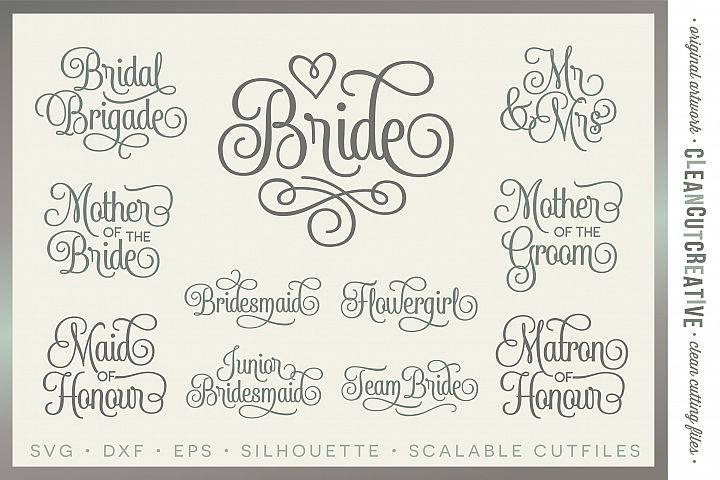 Bridal Party UK/CA/AU spelling - Wedding Party - SET of 11 - SVG DXF EPS PNG - Cricut & Silhouette - clean cutting files