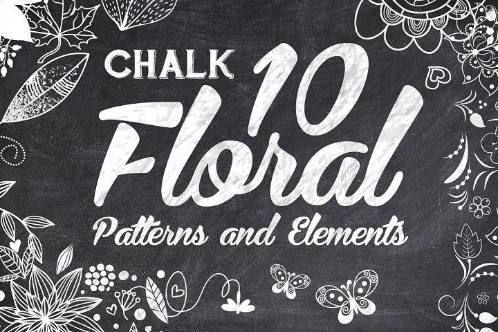 10 Chalk Floral Pattern Elements