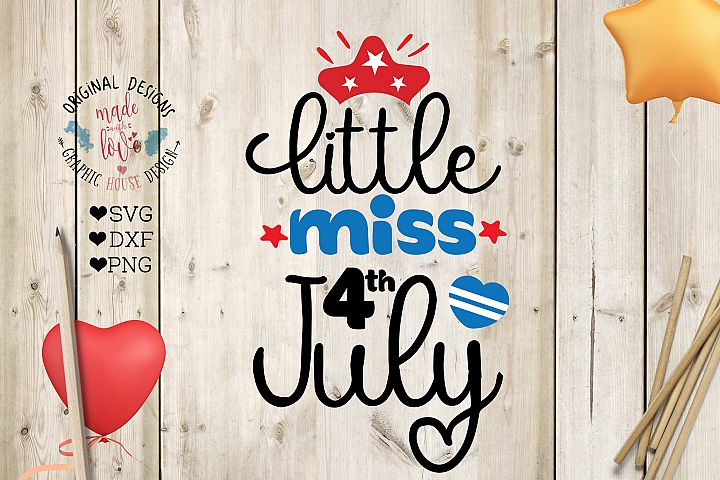 Little Miss 4th July Cut File (SVG, DXF, PNG)