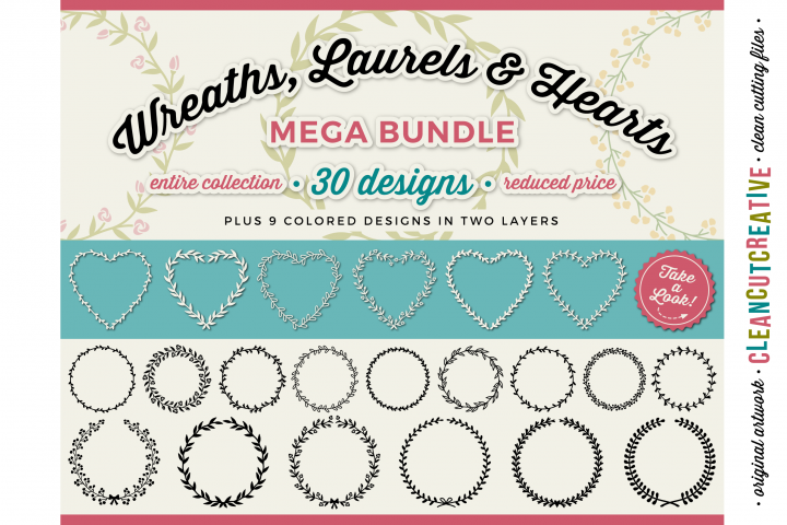 FLORAL MEGA BUNDLE 30 wreaths, laurels and hearts leaf frames - SVG DXF EPS PNG - for Cricut and Silhouette Cameo - clean cutting digital files