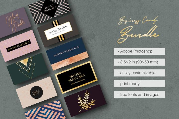Elegant Gold Business Cards Bundle