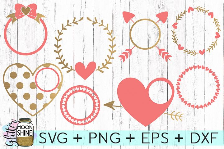 Love Monogram Frames SVG DXF PNG EPS Cutting Files