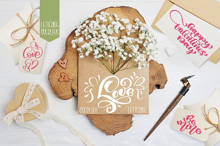Valentines Day lettering photo overlays