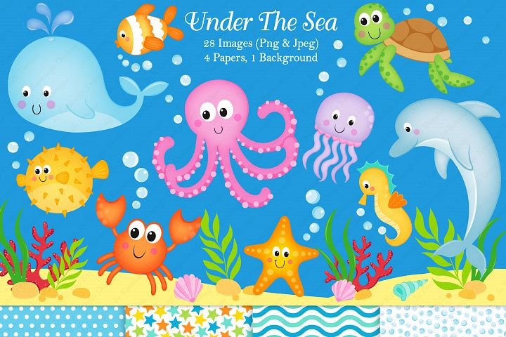 Under the sea graphics & illustrations, Sea animals graphics & illustrations, Under the sea clipart, Sea animals clipart, Under the sea digital paper