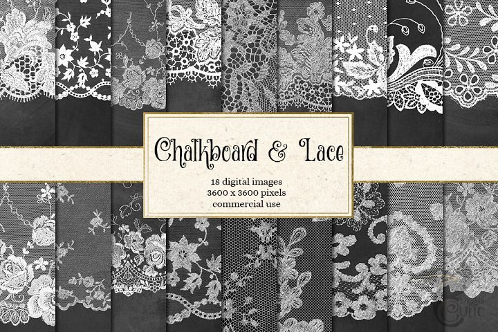 Chalkboard and Lace Digital Paper