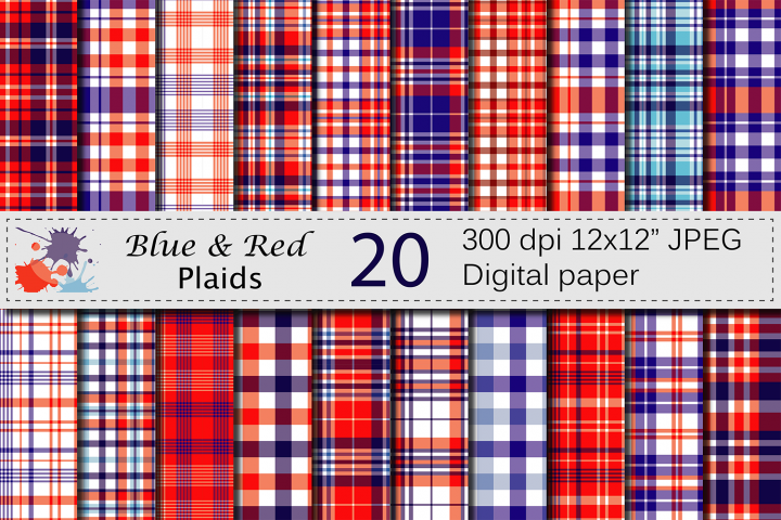 Blue and Red USA 4th of July Patriotic Plaid Digital Paper Pack / Independence Day plaid backgrounds