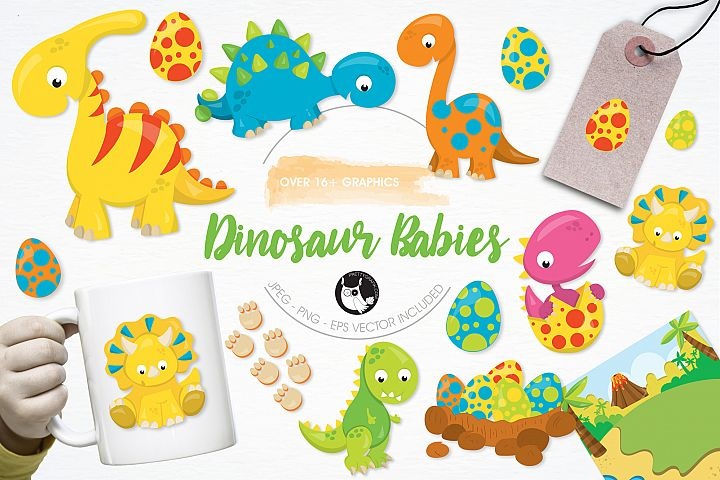 Dinosaur Babies graphics and illustrations
