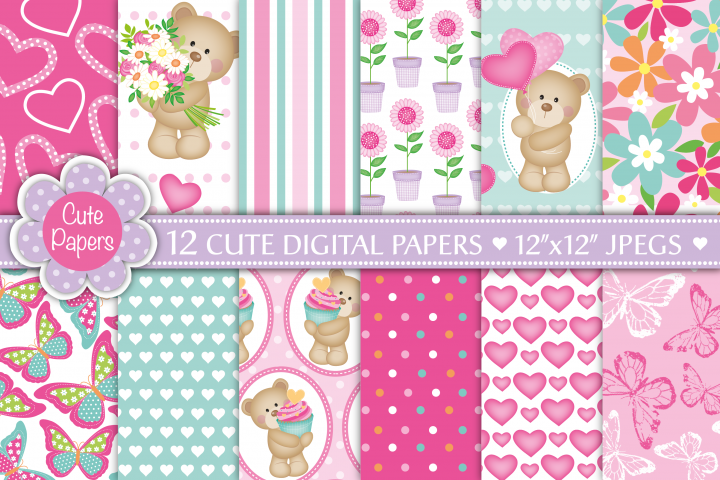 Cute bear digital papers, Cute bears, Cute Bear patterns, Cute bear scrapbook papers, Butterfly papers, Floral papers,Mothers Day