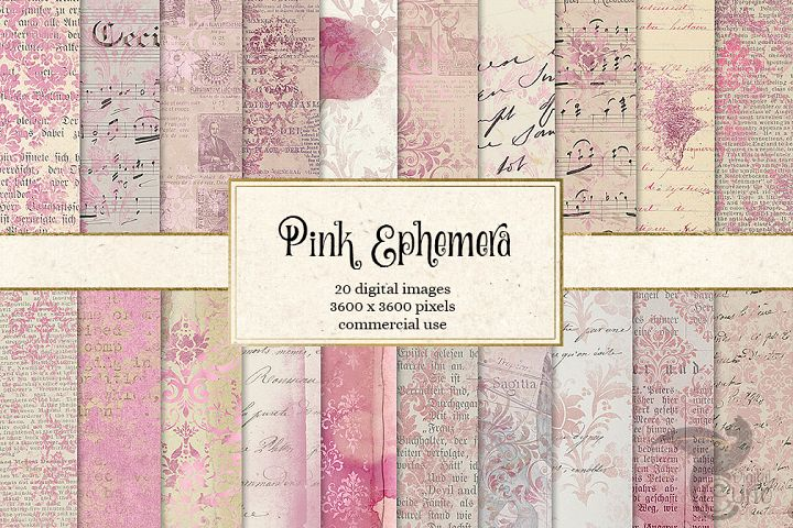 Pink Ephemera Digital Paper