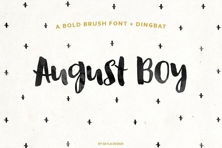 August Boy - Modern, bold, brush font + dingbat clipart