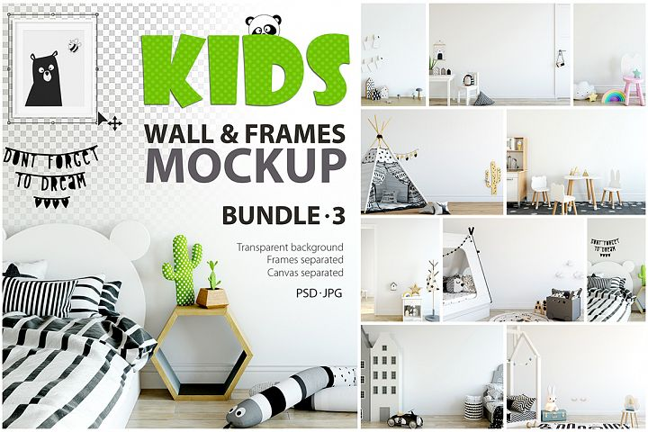 KIDS WALL & FRAMES Mockup Bundle - 3