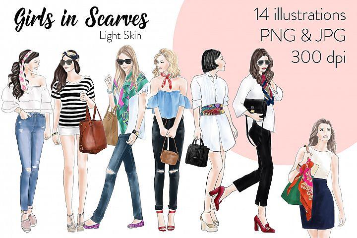 Fashion illustration clipart - Girls in scarves - Light Skin