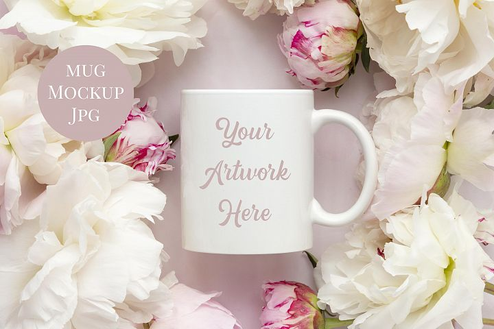 Mug Mockup- pink and white peonies