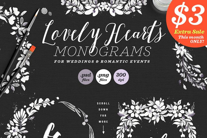 Lovely Hearts Monograms V