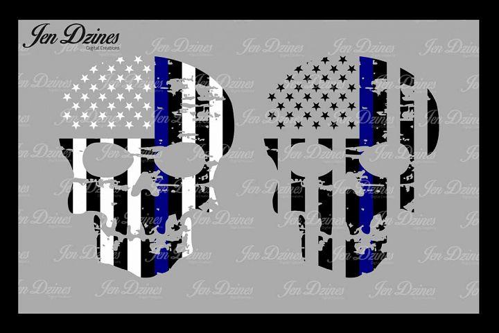 Blue Line Distressed Skulls SVG DXF EPS PNG