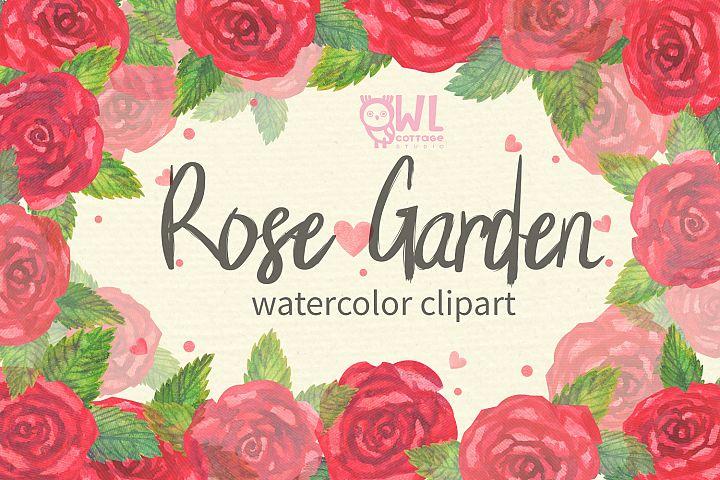 Rose Garden Watercolor Clipart
