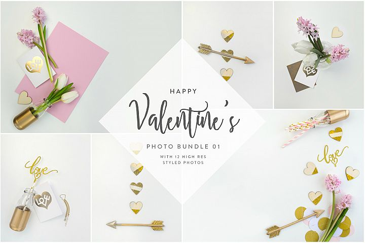 Valentines Styled Photo Bundle - Gold & Rose