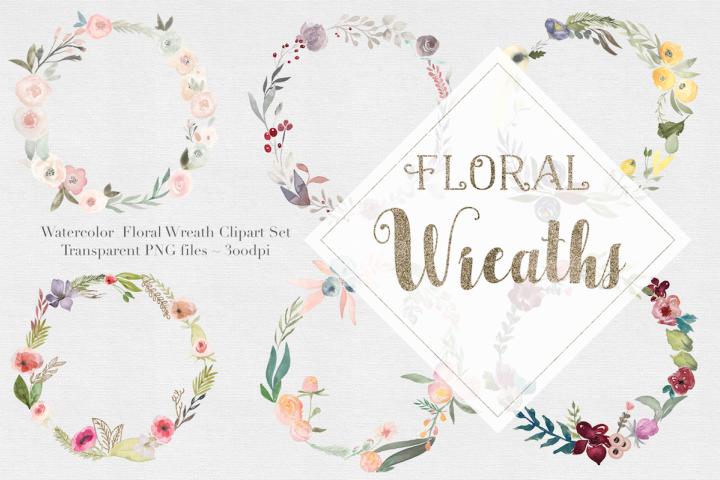 Watercolor Floral Wreaths Vol.1