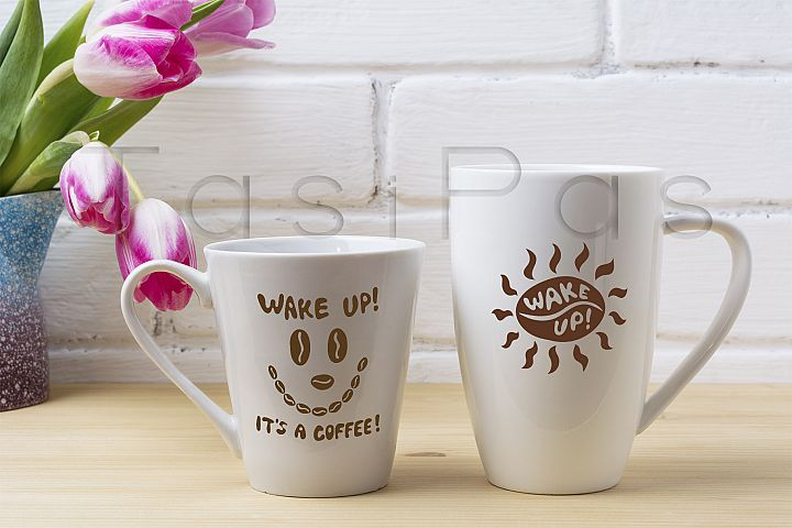 White coffee latte and cappuccino mug mockup with magenta tulip