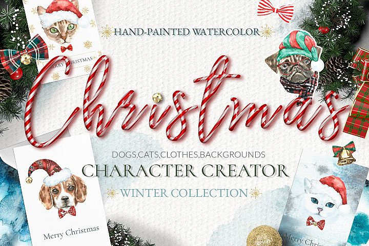 Christmas Animal Creator.Watercolor Dogs & Cats