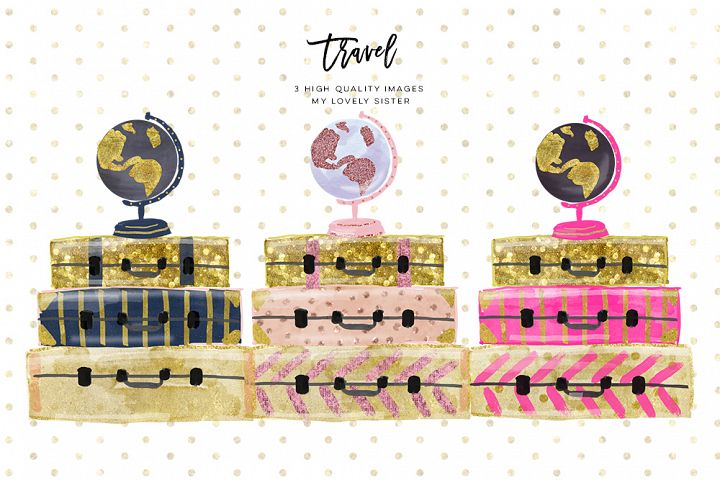 luggage clipart, travel clipart, suitcase clipart, Travel Girl Globe Graphics Planner Sticker, Vintage Luggage Travel Instant Download image