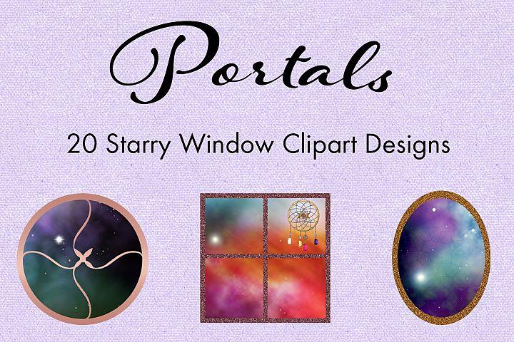 Portals - 20 Starry Window Clipart Designs