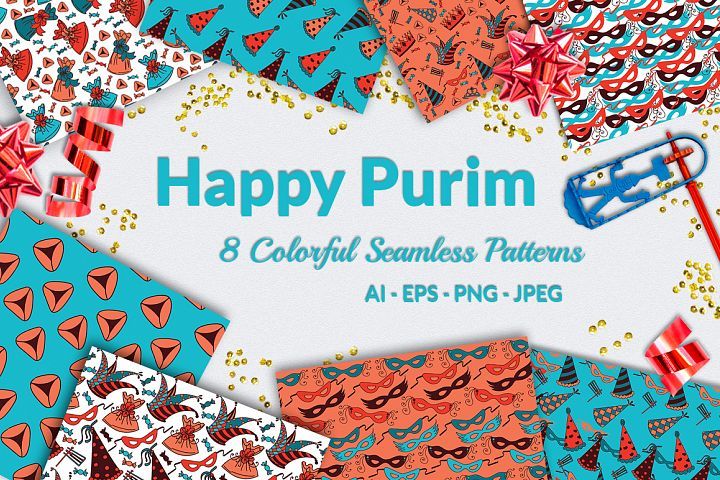 Happy Purim - 8 Colorful Patterns