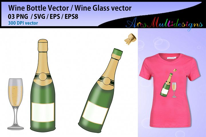 Wine bottle svg vector / wine glass svg vector cut file / champagne svg