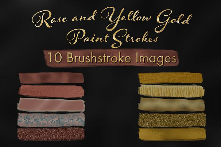 Rose and Yellow Gold Paint Strokes - 10 Brushstroke Images