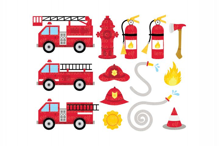 Fire Truck-Digital Clipart (LES.CL50)