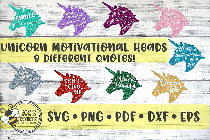 Unicorn Head Motivational Quotes SVG