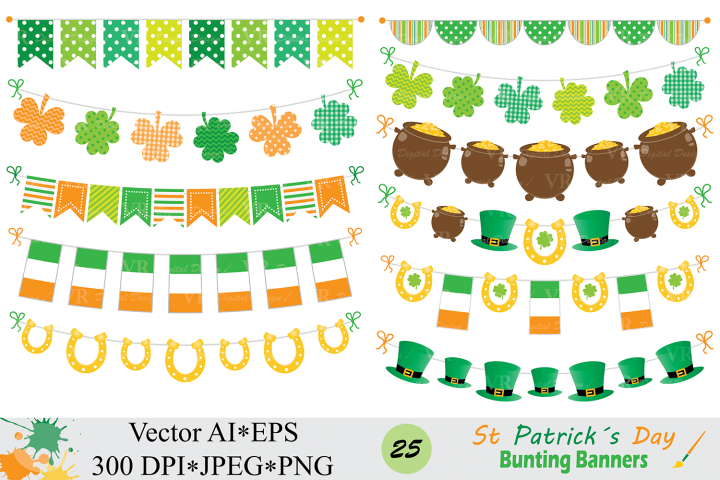 St Patrick`s Day Bunting Banner Clipart / Irish Orange and Green Bunting Vector Clip Art