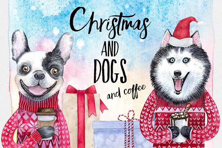 CHRISTMAS AND DOGS watercolor set