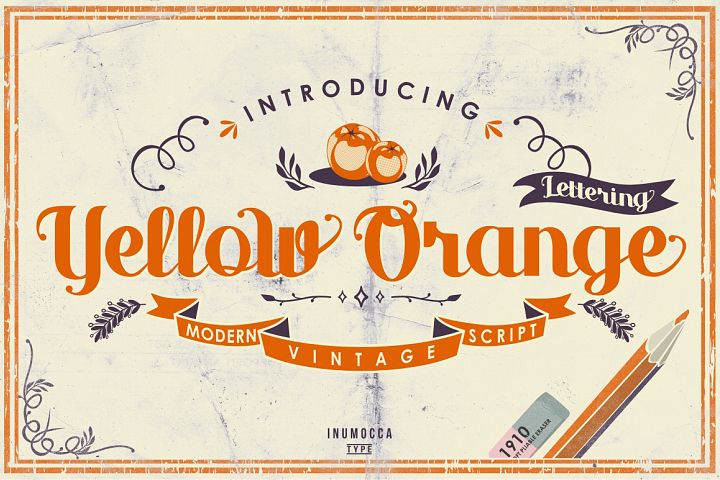 Yellow Orange Typeface + Bonus