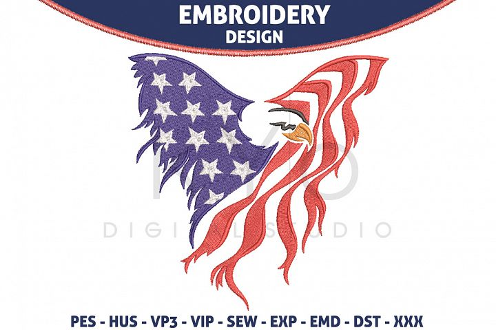 American Eagle USA Flag Embroidery design HUS VP3 EXP VIP PES DST EMD SEW format files 4th fourth of July Independence day