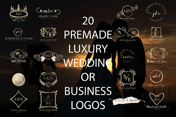 20 PREMADE FEMININE, LUXURY AND ELEGANT WEDDING OR BUSINESS LOGOS