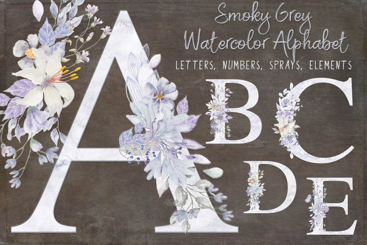 Watercolor alphabet, numbers and sprays in smoky grey