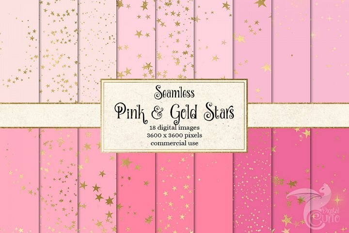 Pink and Gold Stars Digital Paper