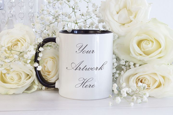 White Mug Mockup with Black Handle - white roses