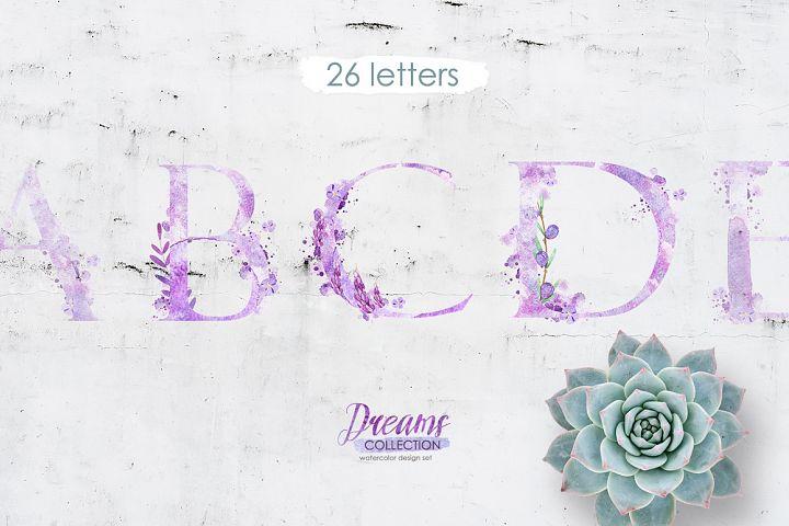 Watercolor alphabet - DREAMS
