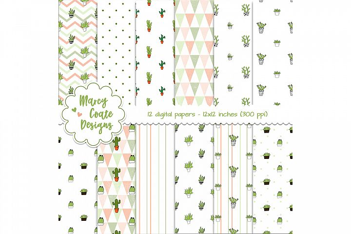 Cactus Digital Papers, 12x12 inch backgrounds, 300 ppi, JPG files, perfect for printables, scrapbooking, card making, planner stickers, etc.