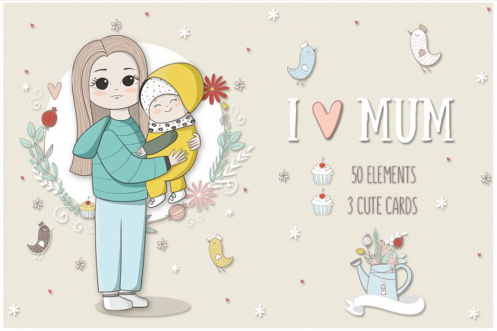 I love mom. Vector illustrations