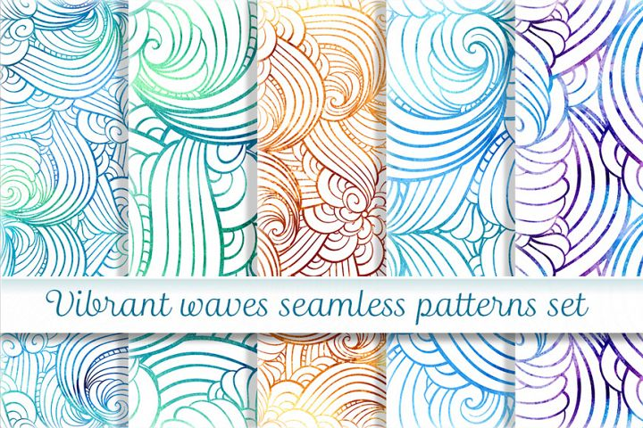 Vibrant waves seamless patterns set