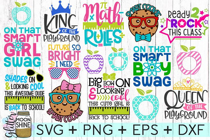 Too Cool For School Bundle of 16 SVG DXF PNG EPS Cutting Files