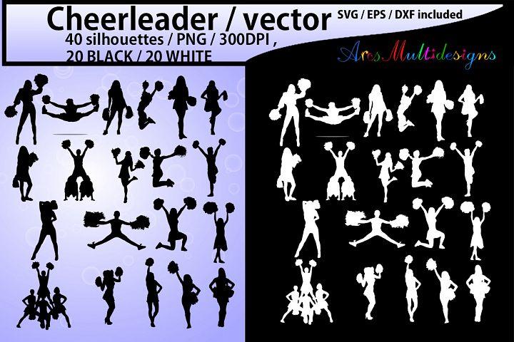Cheerleaders SVG cut files / Cheerleader silhouette / Cheerleader clipart / instant download / vector Cheerleader/ EPS / SVG /Png / DXf