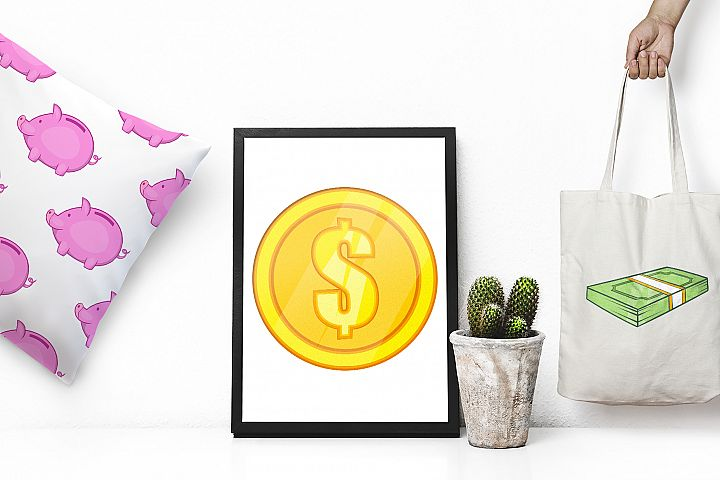 Finance icons set, cartoon style example 2